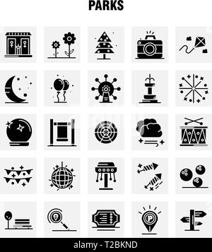Parks Solid Glyph Icons Set For Infographics, Mobile UX/UI Kit And Print Design. Include: Drums, Instrument, Music, Map, Location, Park, Parking, Worl - Stock Photo