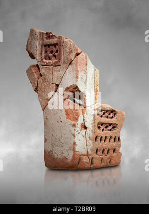 Hittite terra cotta fragmants of a defenive wall tower shaped vessel . Hittite Period, 1600 - 1200 BC.  Hattusa Boğazkale. Çorum Archaeological Museum - Stock Photo