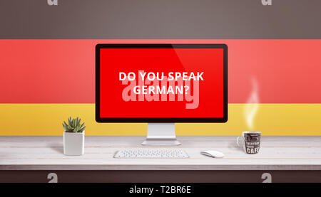 Concept of studying German language wih question Do you speak German on computer display. - Stock Photo