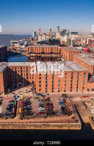 An aerial shot of the Albert Dock and Liverpool waterfront pierhead with the Liver building and new museum. - Stock Photo