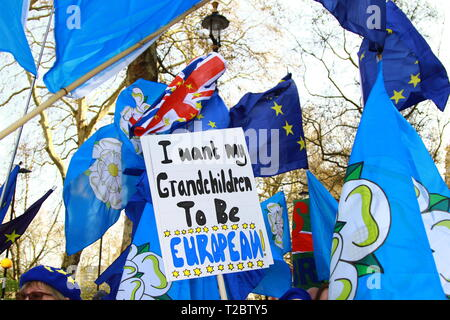 Brexit. Pro Europe sign held up by a group of Yorkshire men and women that travelled to Westminster on the 1st April 2019 to have their say outside Parliament [ the Palace of Westminster ] . I want my Grand children to be European. Bunting. Flags. Stop Brexit. Democracy. POLITICAL DEBATE. The future relationship with Europe. - Stock Photo