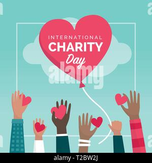 International charity day holiday social media post with people giving hearts and donations, support and funding concept - Stock Photo