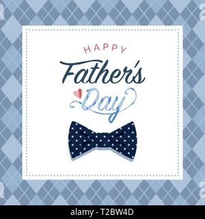 Happy Father's day card with wishes and polka dot bow tie - Stock Photo