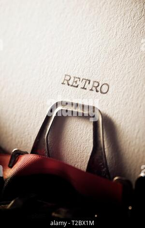 The word, retro, written with a typewriter.