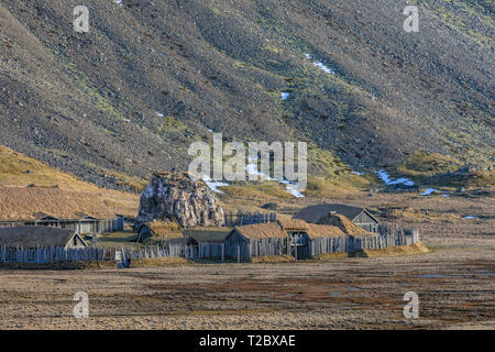 viking village, Stokksnes, Hornafjordur, Hofn, South Iceland, Iceland, Europe - Stock Photo
