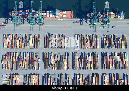 CONTAINERS STOCKED TEMPORARILY ON A QUAY (vertical aerial view). Delwaide dock, harbor of Antwerp, Belgium. - Stock Photo