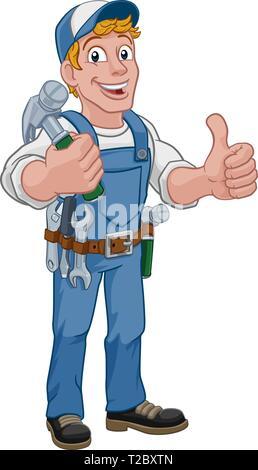 Handyman Hammer Cartoon Man DIY Carpenter Builder - Stock Photo