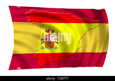 Spain National  Flag with shape of country map. Patriotic concept - Stock Photo