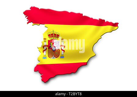 Spain National  Flag shaped to country map. Patriotic concept - Stock Photo
