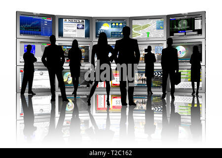 3D illustration. Group of people in front of series of tablets with various applications. - Stock Photo