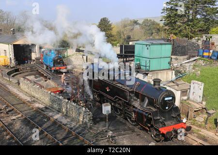 British Railways Standard Class 4 tank No.80104, Swanage Railway, Swanage, Isle of Purbeck, Dorset, England, Great Britain, United Kingdom, UK, Europe - Stock Photo