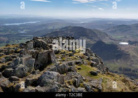 Blea Tarn, Lingmoor Fell, Windermere, seen from Harrison Stickle, Langdale Pikes, Lake District, Cumbria