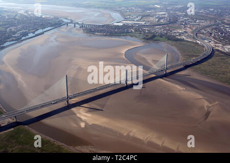 aerial view of the Mersey Gateway Bridge at Runcorn, Cheshire - Stock Photo