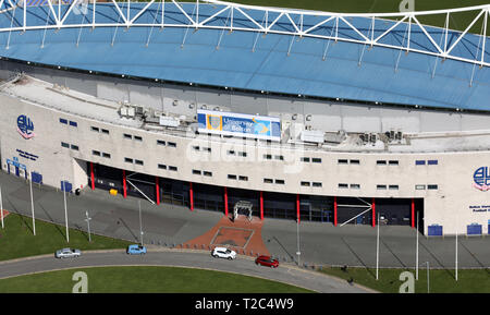 aerial view of the University of Bolton Stadium, formerly Reebok Stadium, and also know as the Macron Stadium, Bolton - Stock Photo