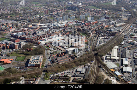 aerial view of Wigan town centre, Greater Manchester - Stock Photo