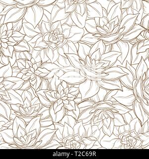 Seamless floral background, narcissus flowers contour on white. Vector - Stock Photo