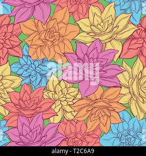 Seamless Floral Background, Tile Pattern, Colorful Narcissus Flowers. Vector - Stock Photo