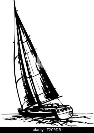 sailing yacht stylized vector - Stock Photo