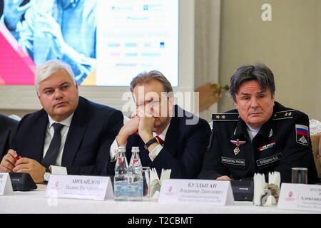 Moscow, Russia. 01st Apr, 2019. MOSCOW, RUSSIA - APRIL 1, 2019: Alexei Malinovsky, senior vice president, head of Mastercard Russia, Kazakhstan, Belarus and Armenia, RZD Russian Railways First Deputy General Director Vadim Mikhailov and Vladimir Buzdygan (L-R), director of the Russian Defense Ministry's Culture Department, during a press conference on the 18th Moscow Easter Festival at the White Hall of the Moscow Mayor's Office. The festival is to be held from April 27 to May 12, 2019. Mikhail Tereshchenko/TASS Credit: ITAR-TASS News Agency/Alamy Live News - Stock Photo
