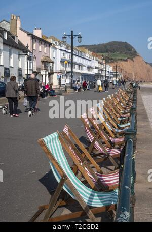 Sidmouth, 1st Apr 19 With the arrival of April, deckchairs are once more out along the seafront at Sidmouth in Devon on a glorious springtime day. Credit: Photo Central/Alamy Live News - Stock Photo