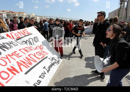 Athens, Greece. 1st Apr, 2019. High-school students protest against the new draft law on changes to admissions at examinations at university, outside the Ministry of Education. (Credit Image: © Aristidis VafeiadakisZUMA Wire) - Stock Photo