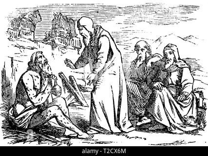 Vintage antique illustration and line drawing or engraving of biblical story of Job.From Biblische Geschichte des alten und neuen Testaments, Germany 1859.Old sick man is talking with three friends about his pain. - Stock Photo