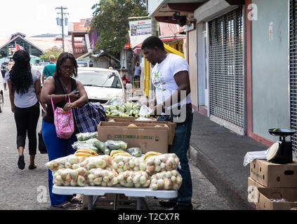 Fruit and Vegetable stall in Saint John's, Capital of Antigua and Barbuda - Stock Photo