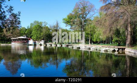 Park Cismigiu Lake. In Bucharest, Romania. Shoot in April 2018 - Stock Photo