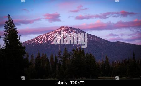 Mount Bachelor in the Oregon Cascades - Stock Photo
