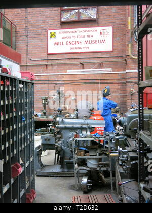 Housed in a Victorian cotton warehouse, Bolton Steam Museum has the UK's largest collection of working mill steam engines, operational on Steam Days. - Stock Photo