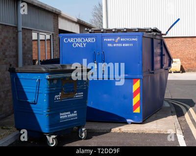 Recycling waste collection bins in Westbury, Wiltshire, UK. - Stock Photo