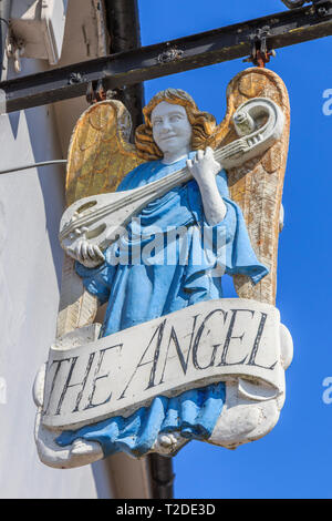 The Angel Ornate pub sign,Lavenham Town Centre, Suffolk, England, UK, GB - Stock Photo