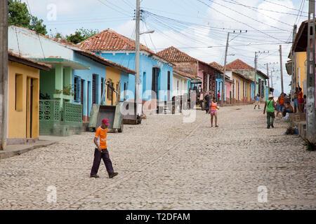 Cobbled street scene Trinidad,Cuba - Stock Photo