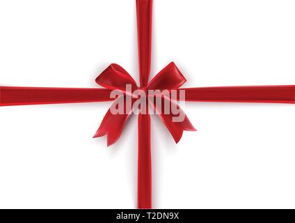 Red Bow Gift on white background. Gift background - Stock Photo