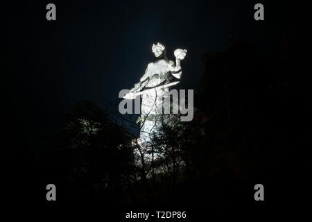 The Mother of Georgia statue on top of the hill above Tbilisi. Night view - Image - Stock Photo