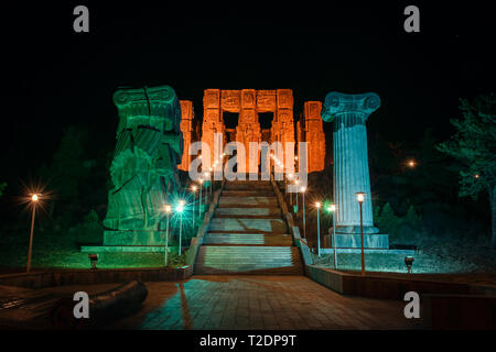 Georgia, Tbilisi - 05.02.2019. - Staircase and impressive monument Chronicles of Georgia on top of the hill. Outskirts of the city. Night view - Image - Stock Photo