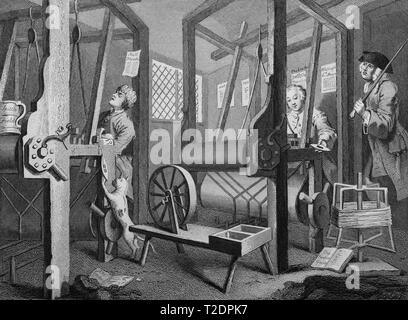 William Hogarth print engraving Industry and Idleness Plate 1 The fellow Ôprentices at their looms - Stock Photo