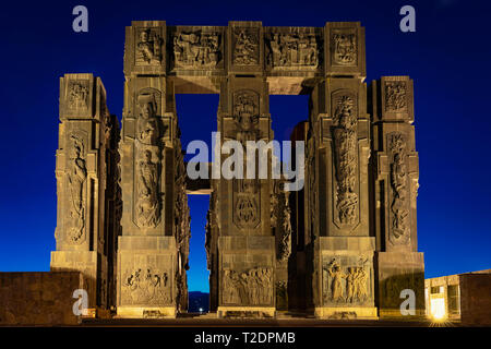 Georgia, Tbilisi - 05.02.2019. - Impressive monument Chronicles of Georgia on top of the hill in outskirts of the capital - Night time image - Stock Photo