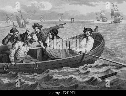 William Hogarth print engraving Industry and Idleness Plate 5 The idle Ôprentice turned away and sent to sea - Stock Photo