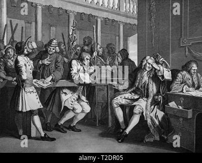 William Hogarth print engraving Industry and Idleness Plate 10 The industrious Ôprentice Alderman of London. The idle one impeached before him by his accomplice - Stock Photo