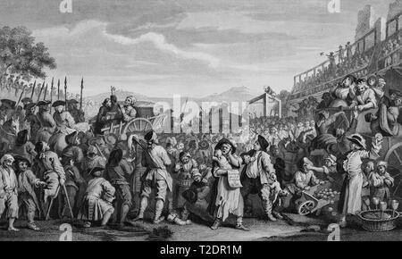 William Hogarth print engraving Industry and Idleness Plate 11 The idle Ôprentice executed at Tyburn - Stock Photo