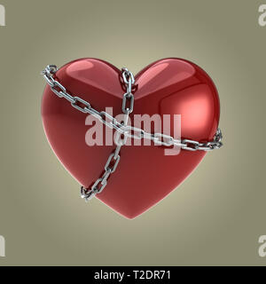 Red Heart in Chains - Stock Photo
