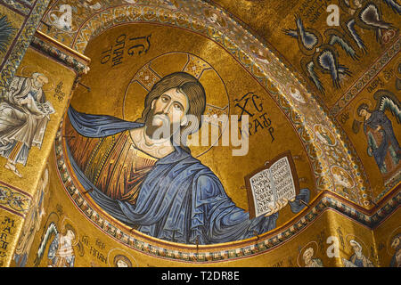 Monreale, Italy - October, 2018. Interior of the Monreale Cathedral with its famous Byzantine golden mosaics and decors. - Stock Photo