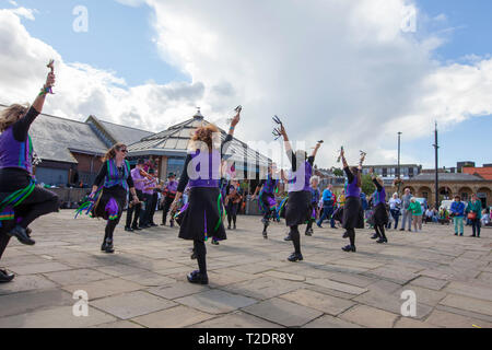 celebrations and dancing on the streets at Whitby Folk week 2018, North Yorkshire coast, England - Stock Photo