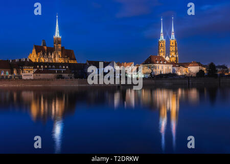 Cathedral Island at night, Wroclaw. - Stock Photo