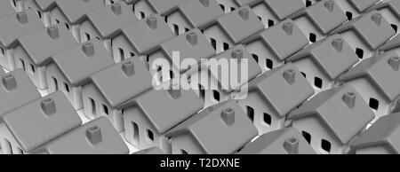 Densely populated city. House models gray color, close to each other texture background, banner. 3d illustration - Stock Photo