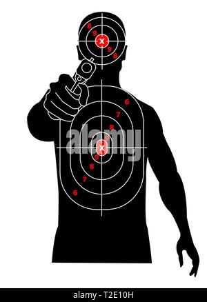 Target shooting. Silhouette of a man with gun in his hand, criminal, delinquent. Target on his chest and head - Stock Photo
