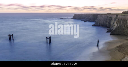 Twilight over Davenport Old Pier Bluffs. - Stock Photo