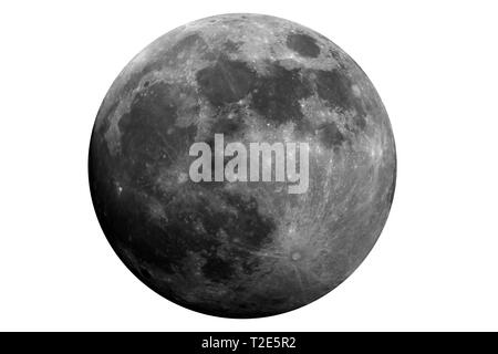Model of waxing gibbous moon phase, isolated in the white, original is a photo taken with large diameter telescope of mine. - Stock Photo