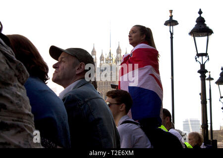 Pro Brexit demonstration in London-29th of March 2019 - Stock Photo